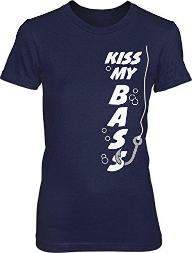 Women s kiss my bass t shirt funny fishing shirt fisherman for Fishing shirts for women
